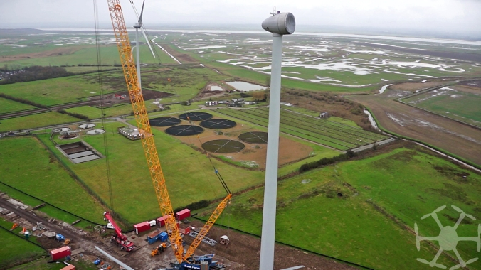 wind turbine and crane